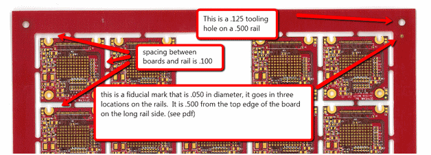 PCB Array with Tabs and Tooling Holes